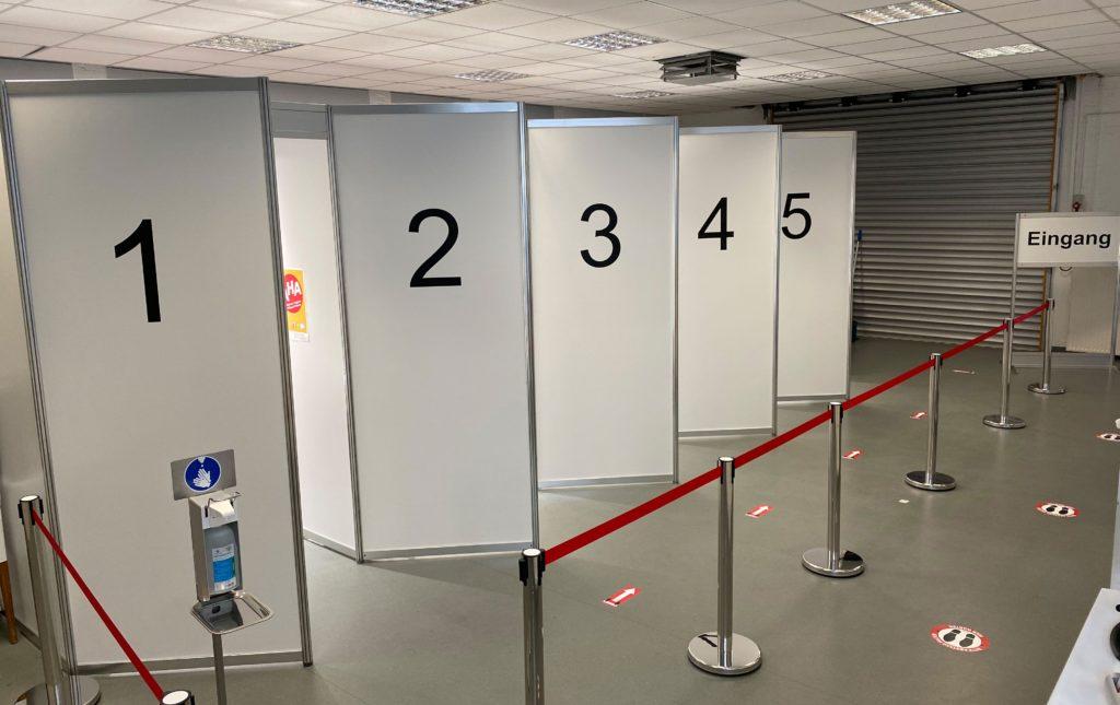 5 Kabinentüren im ASFD Testzentrum Eilendorf